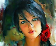 beautiful-oil-painting-nature-beauty-red-flower-artworks-the-artists-young-women-beauty