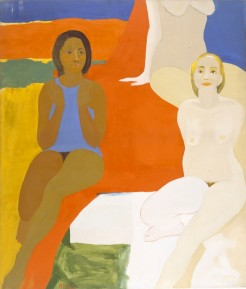 EL113.002 Emma Amos (American, born 1938). Three Figures, 1966. Oil on canvas, 60 x 50 in. (152.4 x 127 cm). Collection of the artist. © Emma Amos / Licensed by VAGA, New York, NY. Photo: Becket Logan The image may only be used for editorial content related to the exhibition, including reviews, in the interior of the print or online publication. The copyright credit line must appear directly below or adjacent to all reproductions. Except for critical reviews, no images may be reproduced after the closing of the exhibition unless authorized in writing by VAGA. Except for critical reviews, all online reproductions shall be removed at the conclusion of the exhibition. If reproduced on the web, the reproduction shall be a maximum of 72 dpi with a dimension of no more than 1000 pixels on the longest side. The copyright credit line must be underlined or highlighted to create a link to www.vagarights.com.