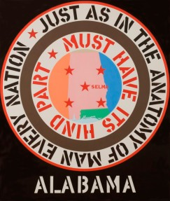 Robert Indiana (American, born 1928). The Confederacy: Alabama, 1965. Oil on canvas, 70 x 60 in. (177.8 x 152.4 cm). Miami University Art Museum, Oxford, Ohio, Gift of Walter and Dawn Clark Netsch. © 2013 Morgan Art Foundation / Artists Rights Society (ARS), New York Press Permission is contingent upon the artwork not being cropped, detailed, overprinted or altered; the work being fully credited; and the inclusion of the appropriate copyright notice (listed above) adjacent to all reproductions.