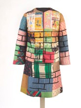 2012.80.16 Jae Jarrell (American, born 1935). Urban Wall Suit, circa 1969. Dyed and printed silk with paint, 38 x 21 x 10 (96.5 x 53.3 x 25.4 cm). Brooklyn Museum, Gift of R. M. Atwater, Anna Wolfrom Dove, Alice Fiebiger, Joseph Fiebiger, Belle Campbell Harriss, and Emma L. Hyde, by exchange; Designated Purchase Fund, Mary Smith Dorward Fund, Dick S. Ramsay Fund, and Carll H. de Silver Fund, 2012.80.16. © Jae Jarrell