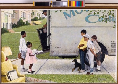 Norman Rockwell (American, 1894â??1978). New Kids in the Neighborhood (Negro in the Suburbs), 1967. Oil on canvas, 36 1/2 x 57 1/2 in. (92.7 x 146.1 cm). Story illustration for Look, May 16, 1967. Norman Rockwell Museum Collection, Stockbridge, Massachusetts. Printed by permission of the Norman Rockwell Family Agency. © 2013 the Norman Rockwell Family Entities