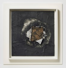 Jack Whitten (American, born 1939). Birmingham 1964. Aluminum foil, newsprint, stocking, and oil on plywood, 16 5/8 x 16 in. (42.2 x 40.6 cm). Collection of the artist, courtesy of the artist and Alexander Gray Associates, New York. © Jack Whitten